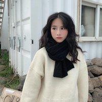 Sciarpe Ins Breve sciarpa da donna inverno stile coreano ispessito a colori solido lana decorazione a maglia interamente partita Autunno e