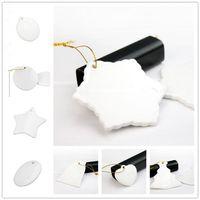 Сублимационные пустые керамические подвески креативные рождественские украшения теплопередача печатания DIY керамический орнамент 9 стилей принимают смешанный DHL бесплатно