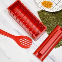 10 Pieces/set DIY Sushi Maker With Specification Plastic Onigiri Mold Rice Mould Kits Kitchen Bento Accessories Tools LLA189