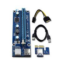 RISER VER 006C PCIE RISER 6PIN 16X ل BTC التعدين مع بطاقة الصمام الصمام مع كابل الطاقة SATA و 60 سم كابل جودة USB