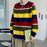 Men's Sweaters 2021 Striped Printing Pullover Long Sleeves Coats Round Neck Woollen Sweater Loose Cashmere Knitting Plus Size M-2XL