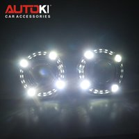 Autoki Car Styling 2.5 '' Bi-Xenon Mini Proyector Lens H1 W / LED Angel Eyes Daytime Running Lights Lens DRL para H4 H7 Auto Lamps