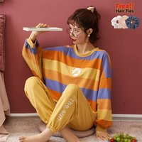 Melifle Sonbahar Moda Ipek Pijama Set Kadınlar Için Kış Sıcak Pamuk Baskı Gecelik Suit Kawaii Saten Atoff Ev Yumuşak Pijama 201029