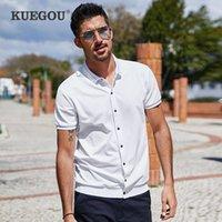 Kuegou 2021 de algodão de verão Cardigan branco Cardigan camisa polo homens manga curta poloshirt para roupas masculinas marca mais tamanho top 3391