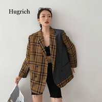 Contrast Color Brown Plaid Vintage Street Wear Loose Turn- Do...