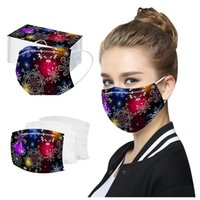 Mask Disposable 50PC Adult Christmas Print 3 Layers Cover No...