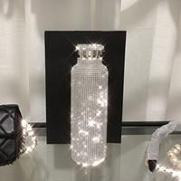 Funkelnde High-End-isolierte Flasche Bling Strass Edelstahl Wärmeflasche Diamant Thermo Silber Wasserflasche mit Deckel 201109