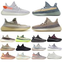 2021 Kanye Batı Erkek Kadın Koşu Ayakkabıları Tasarımcı Sneakers Kül Mavi İnci Taş Küliş Siyah Statik Yansıtıcı Zebra Bred Tereyağı Kum Taupe