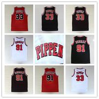 Vente chaude Hommes # 1 Derrick Rose 33 Scottie Pippen91 Dennis Rodman Jersey, Blanc Rouge Black Stripes 100% cousu Jersey de basketball rétro cousu
