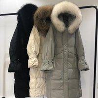 Kadın ördek aşağı ceket 2019 sıcak kalınlaşmış rakun kürk yaka kadın uzun ceket dış giyim kadın kirpi ceket chaqueta mujer1