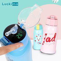 500 ml Dibujos animados Smart Temperep Exhibir Thermos THEM Portable Presionando Estilo de paja Botella de agua Mantenga cálido frío 24 horas para el bebé 201105
