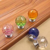 4 Color de cristal de cristal de diamante de cristal de la puerta perillas perillas del cajón del gabinete de cocina manija de los muebles Knob manijas y tiradores de tornillo 100 piezas T1I2559