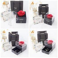 روز زهرة مجوهرات مربع قلادة حلقة محفوظة زهرة مربع عيد ميلاد هدية مربع لعيد الحب يوم الأم HH21-04