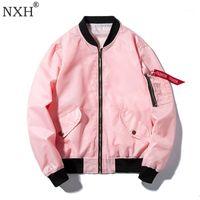 NXH тонкие 8 цветов доступны пара красочные бомбардировщики Jaket Pink White Streetwear весной и осенью бейсбольное пальто пилотная куртка1