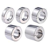 Металлический шариковый носилка мошонка подвесной ограничение кольцо весовой пенис консервиса мошонка магметическое замок заблокированное кольцо 5 размер для мужчин