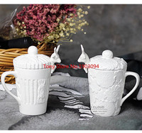 24pcs lot 3D Amimal Couples Cups with Lid Cute Milu Deer Cof...