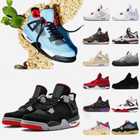أحذية retro sail 4 travis scott 4 4s القط الأسود رجل كرة السلة المحكمة الأرجواني الأحمر المعدني ولدت رابتورز المرأة أحذية رياضية المدربين الأحذية الرياضي