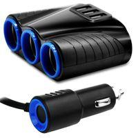 2018 3 Wege Auto Zigarettenanzünder Sockel Splitter12V Dual USB-Ladegerät Netzteil-Adapter Up Kostenloser Versand Neues Ankommen