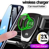 Ücretsiz Kargo Otomatik Yerçekimi Qi Kablosuz Araç Şarj Dağı IPhone XS Max XR X 8 10W Hızlı Samsung S10 S9 için Telefon Tutucu Şarj