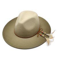 Stingy Brim Hats 영국 여성 남성 양모 페르시라 모자 깃털 벨트와 Fedora 모자 dec 그라디언트 와이드 펠트 파나마 브리트니 가을 겨울 재즈 캡