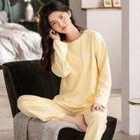 Pijama tek sezonun dışında setleri artı boyutu kadınlar uzun kollu pamuk ince paragraf leisurewear nuisette femme