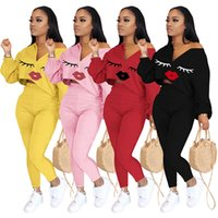 Women Two Piece Outfits Ladies Tracksuits Long Sleeve Tops Pants Sets Fashion Lip Print Casual Set Female Sports Suits 051006