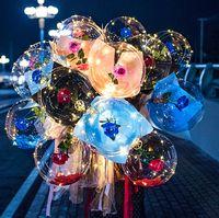 الصمام بالون مضيئة روز باقة شفافة فقاعة ساحر روز مع عصا led بوبو الكرة عيد الحب يوم هدية الزفاف حزب ديكور E121801