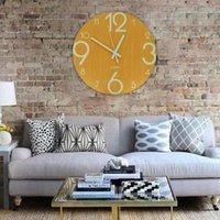 ساعة الحائط مضيئة 12 بوصة خشبية صامتة غير تدقيق غرفة المعيشة كوارتز ساعة الحائط مع أضواء الليل للديكور المنزل الداخلي