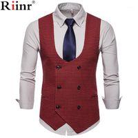 RIInr 2019 Spring Automne Homme Vest Vintage Homme Hommes costume Vest Collier en forme de U Homme Homme occasionnel Homme Casual Vêtements1