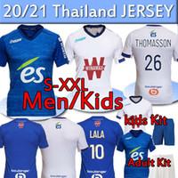 20 21 RC Estrasburgo Soccer Jersey Alsácia Maillot de Foot Ball Camisas Djiku Thomasson Lala Mothiba Hommes Enfants Homens Crianças Kit Adulto Uniformes