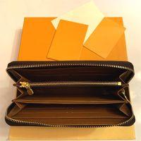 Высококачественные дизайнеры PU кожаные кожаные кошельки на молнии роскошные монеты кошелек монеты держатель длинного сцепления кошелек с коробкой серийный номер 60017
