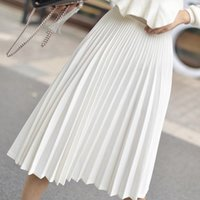 Elegantes saias plissadas brancas mulheres moda alta cintura midi saia feminina a linha womens jupe