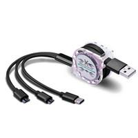الأسهم قابل للسحب متعدد USB شحن الكابلات مايكرو نوع C الحبل لسامسونج غالاكسي A30 A50 A70 M30 الهاتف الخليوي شاحن متعددة كابيل