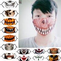 Máscara 33 Design Cara da abóbora de Halloween Crânio do palhaço Imprimir Máscaras crianças Adutls cara contra pó Anti-fog máscara facial com filtro PM2.5 Máscaras laváveis