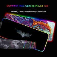 Mrgbest Gaming Souris Pad de souris LED Grand PAD de la souris RGB Backlight Rainbow Computer Computer Caoutchouc Tapis de clavier pour Jeux LJ201031