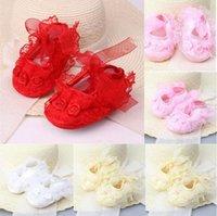 New Baby Girls Newborn Satin Creationing Цветочные кружевные крючком мягкие подошвы обувь принцесса детей инфантил хлопчатобумажная кроватка обувь предварительно