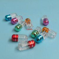 100 x mini shell cápsula conchas redondas casas de pílulas transparentes de plástico garrafas recarregáveis com tampa de alumínio Medicina contentores de contêinerpls