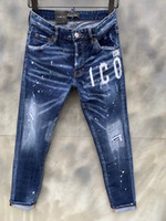 DSQ Kot Erkek Lüks Tasarımcı Kot Sıska Yırtık Serin Guy Nedensel Delik Denim Jean Moda Marka Fit Jeans Erkekler Yıkanmış Pantolon 61281