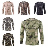 2020 Men Long sleeve T shirt Tactical Camouflage Army Python Camo Quick Dry T-Shirts Hiking Tees Camp Hunting Fishing