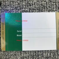 Cartão de garantia de segurança verde Custom Modelo Modelo Número de série Endereço na caixa de relógio de cartão de garantia para Caixas Rolex Relógios Tags
