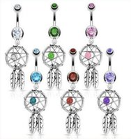 Nouvelle arrivée 316L Crystal Chirurgical Crystal Dream Dream Catcher Belly Navel Barbell Bar Baring Body Bijoux Piercing PS2028