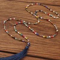 Boho Dong Tassel Заявление Ожерелье Женщины Этнические Красочные Кристалл Каменные Бусины Кулон Ожерелье Богемский Ручной Грузные Изделия Gife1
