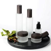 30 g 50 g 30 ml 100 ml Botella de bomba de vidrio helada para suero / loción / emulsión / fundación Embalaje cosmético de la crema vacía Jarra