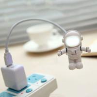 유연한 spaceman 우주 비행사 USB 튜브 ABS + PC 미니 LED 야간 빛 흰색 램프 컴퓨터 노트북 PC 노트북 읽기 휴대용