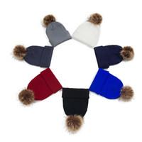 الدافئة الطفل قبعة الشتاء متماسكة مع بوم بوم الكرة لينة قبعة الكروشيه فتاة فتى لطيف الأذن الكرتون غطاء القبعات