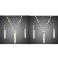 Originalità Set di gioielli Set Orecchini Collana pendente Moda Crystal Inlay Cylinder Accessori donna uomo orecchio ciondoli collane 5 5fs k2