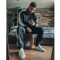 Made In Italy Mens Active Tracksuits Fashion Letters String Jacket & Sweatpants Casual Zipper Two Pieces Outfits for Boy Hiphop Streetwear