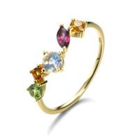 14K oro giallo placcato in oro 925 sterling sterling anello da donna arcobaleno naturale arcobaleno pietra moonstone citrino verde peridoto granato