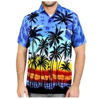 Summer Men T-Shirts Men's Button Hawaii Print Beach Short Sleeve Fake Pocket Quick Dry Top Blouse Plus Size Mens Shirts New 2020