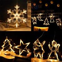 secuencia de la luz de la lámpara colgante ventosa estrella luces de la secuencia de vacaciones de Navidad decoración de la habitación ventana LED Campanas del copo de nieve del árbol CZ102601A